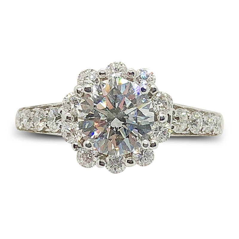 Flower Diamond Halo Engagement Ring