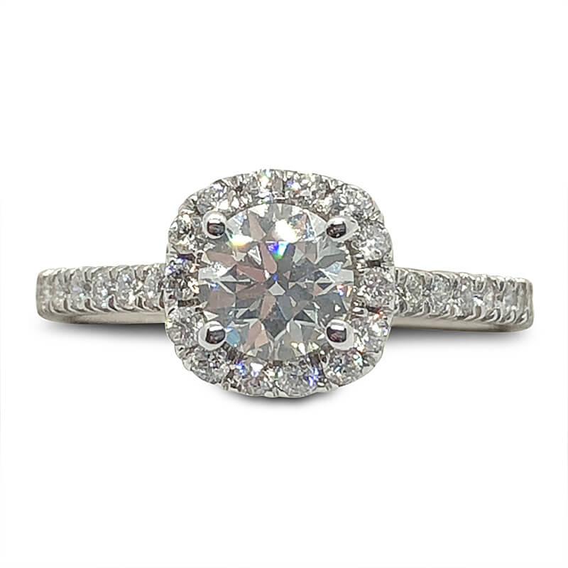 Cushion Shaped Halo Round Diamond Ring
