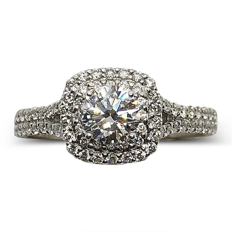 Round Diamond with Double Halo Ring