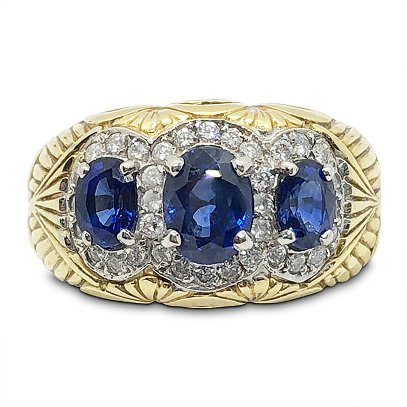 Three Oval Sapphire Ring