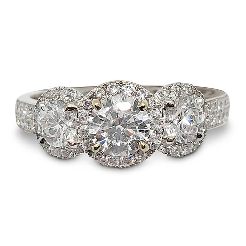 Three Diamond Halo Ring