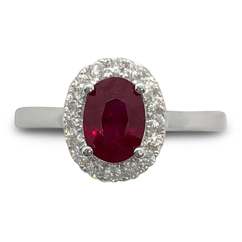 14kt. White Gold Oval Ruby Ring