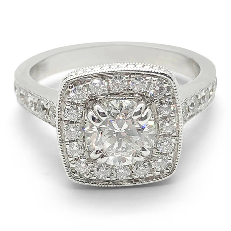 Round Diamond with Cushion Shaped Halo Ring