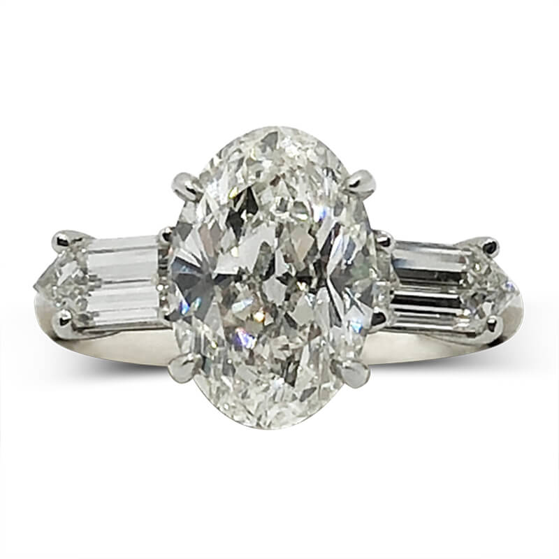 Oval & Bullet Cut Diamond Handmade Ring