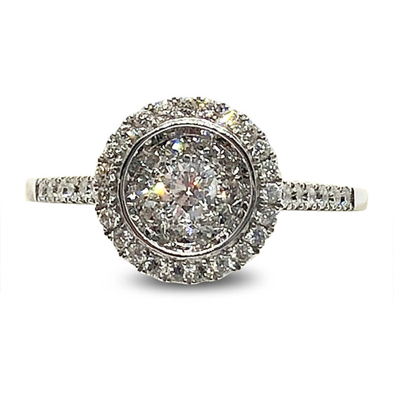 Bezel Set Cluster Diamond Engagement Ring