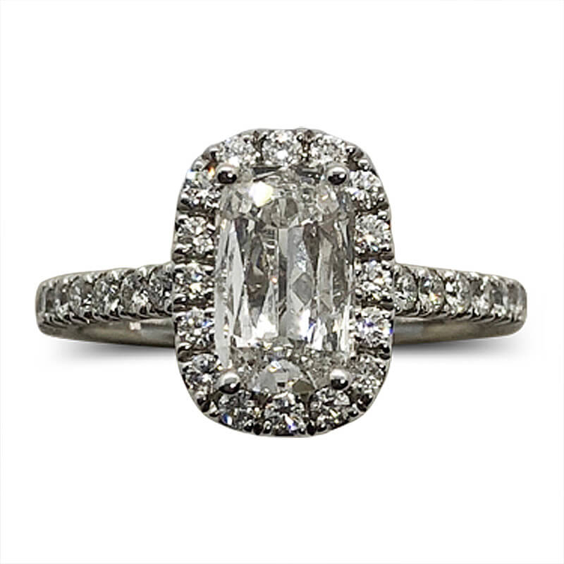 Diamond Halo Cushion Cut Ring
