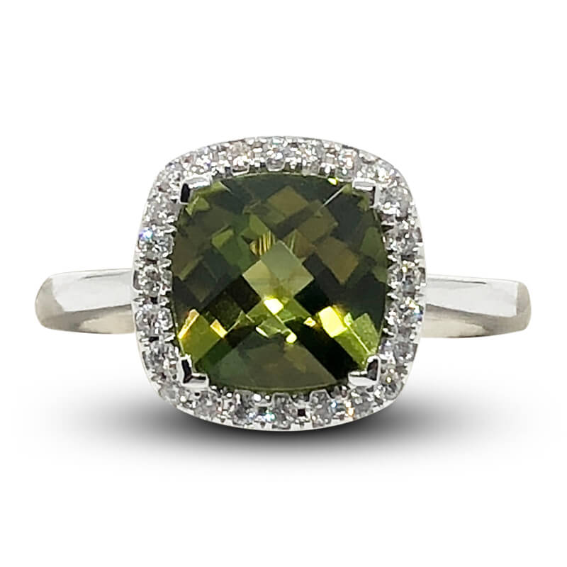 Diamond Halo Peridot Ring