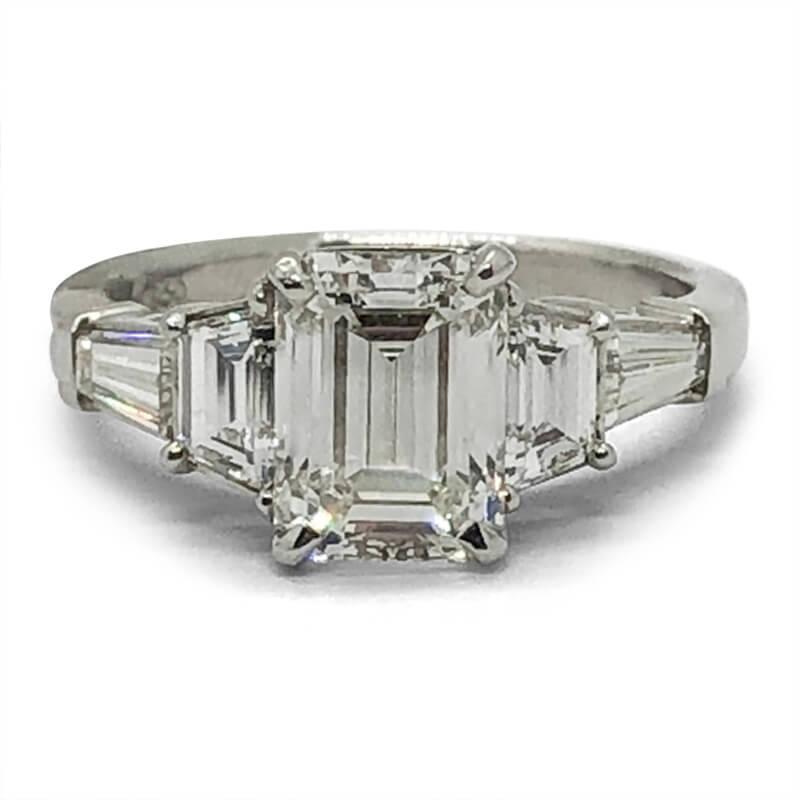 Emerald Cut Platinum Engagement Ring