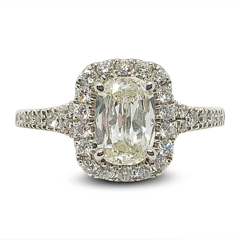 Cushion Cut Diamond Halo Split Shank Ring