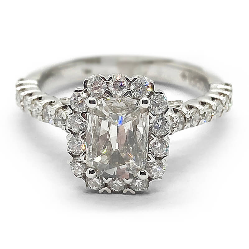 Large Cushion Cut Halo Engagement Ring