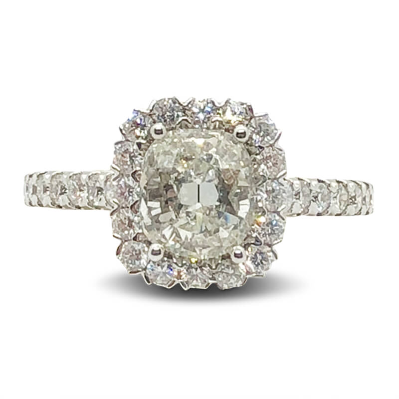 18kt. White Gold Cushion Cut Halo Ring