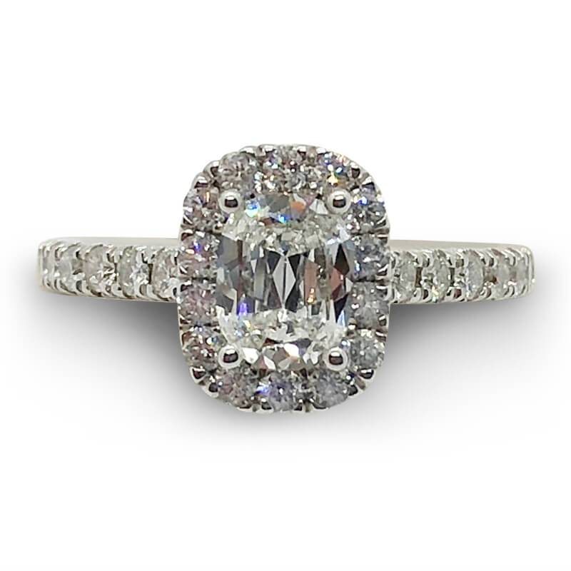 3/4ct. Cushion Diamond Halo Ring