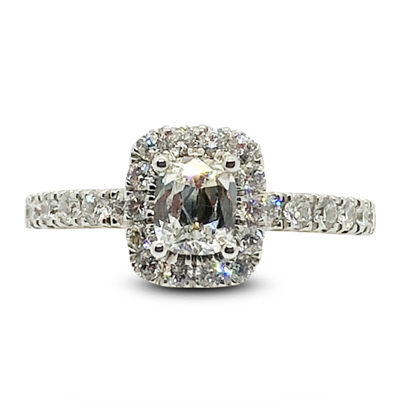 Cushion Cut Diamond Halo 14kt. White Gold Ring