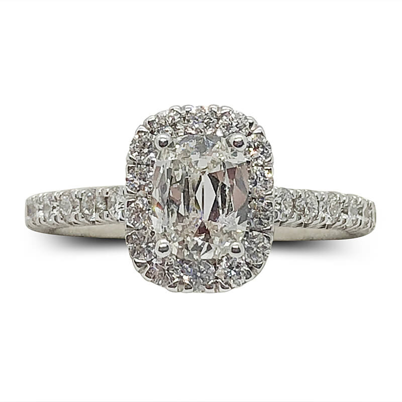 Diamond Halo Cushion Cut Engagement Ring