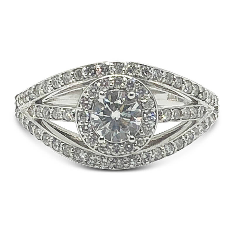 Triple Diamond Split Shank Engagement Ring