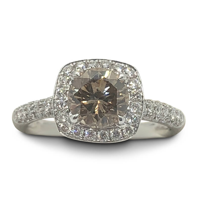Dark Brown Diamond Halo Ring