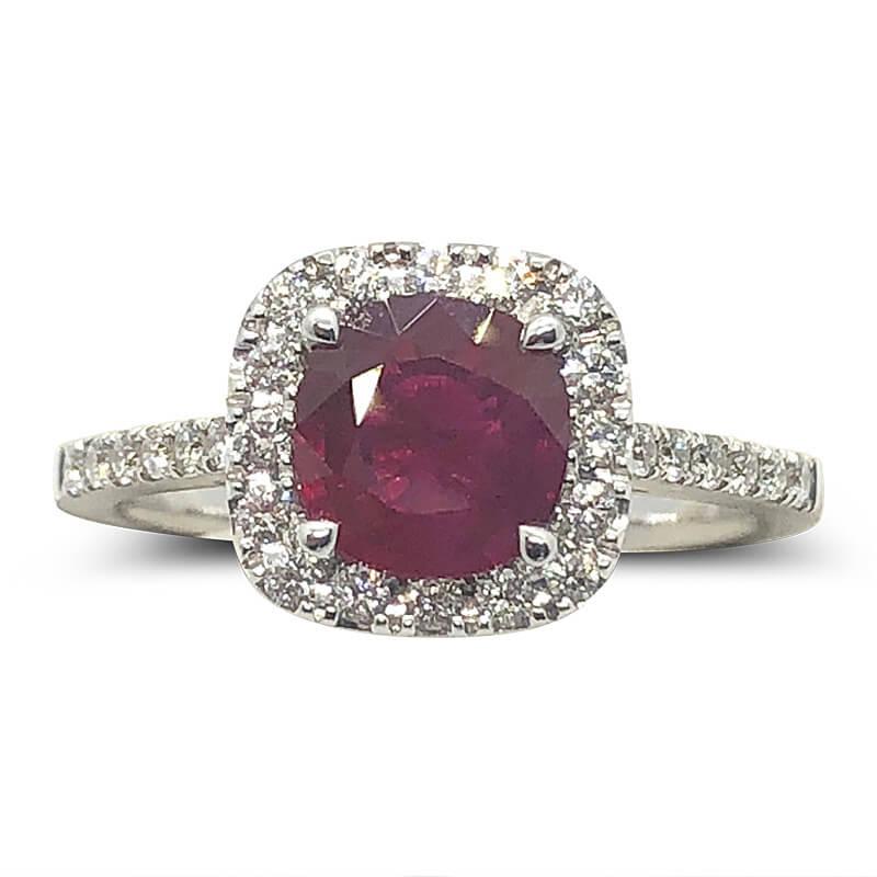 Round Ruby & Diamond Halo Ring