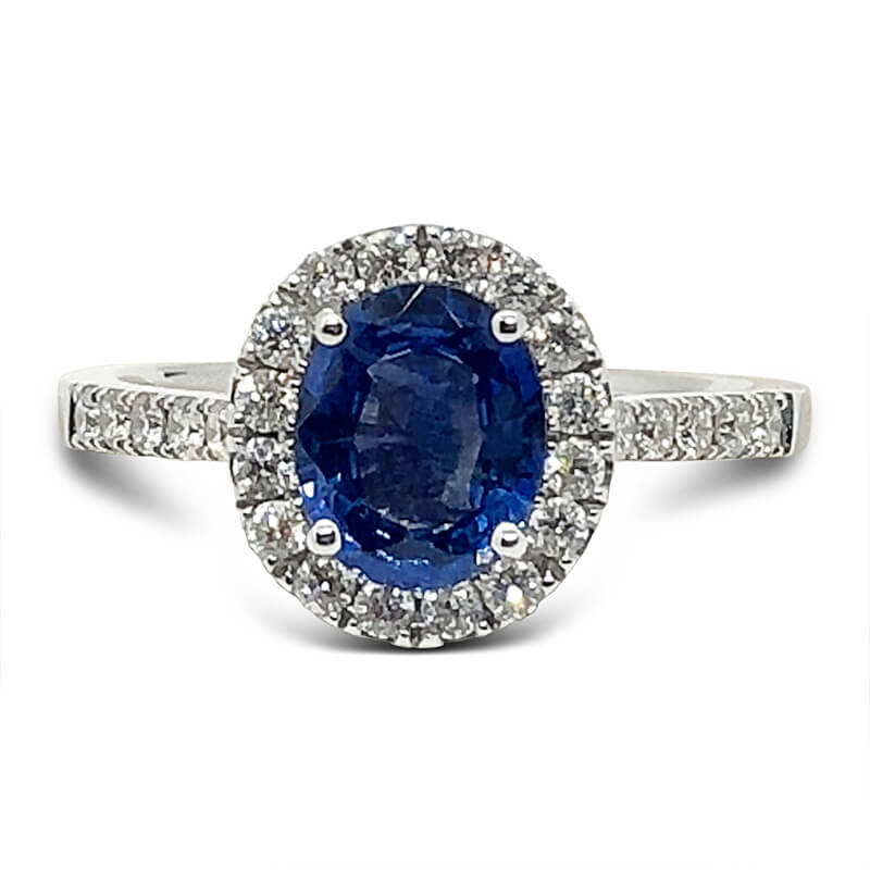 Halo Diamond Ring with Oval Sapphire