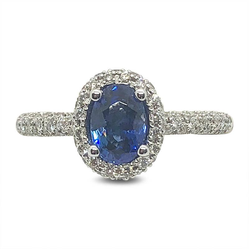 Sapphire & Pave Diamond Halo Ring