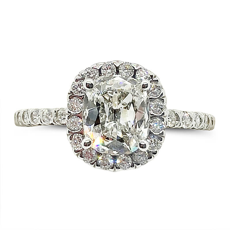 1.13ct. Cushion Cut Halo Diamond Ring