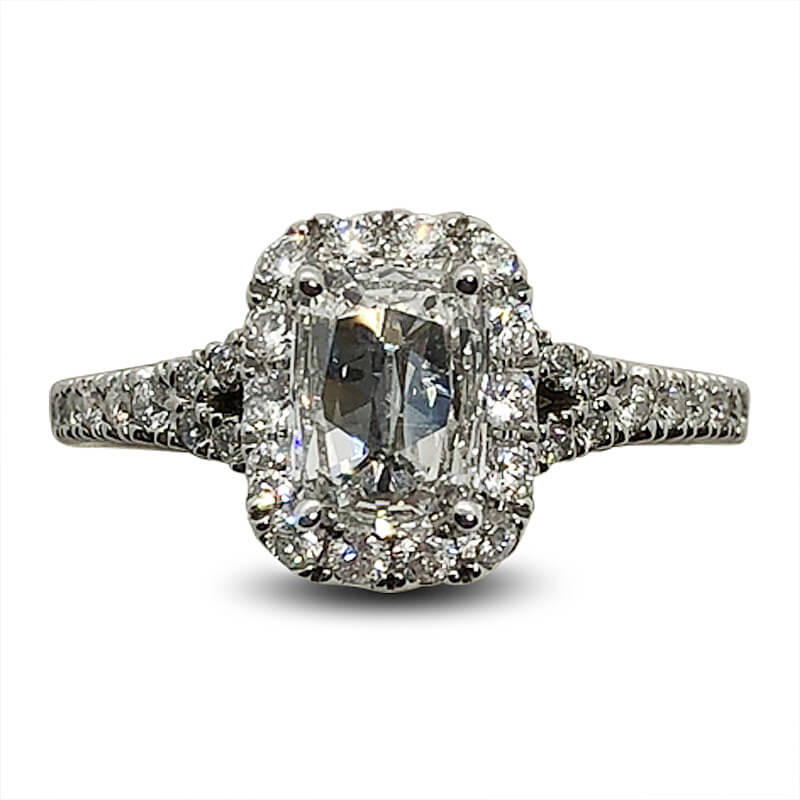 D Color Cushion Cut Diamond Ring