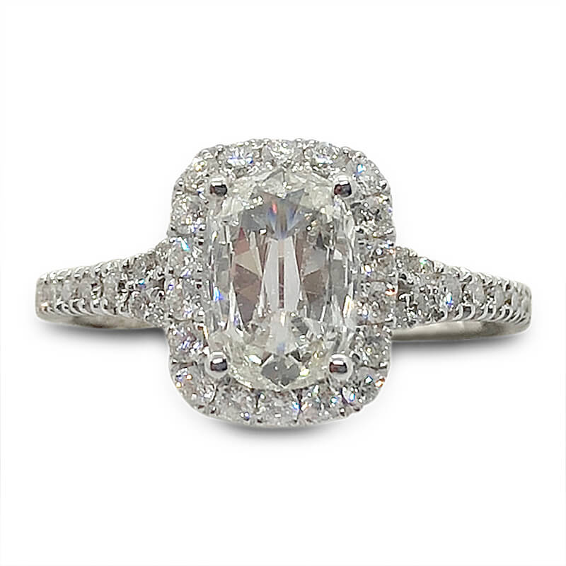 One Carat Cushion Diamond Halo Ring