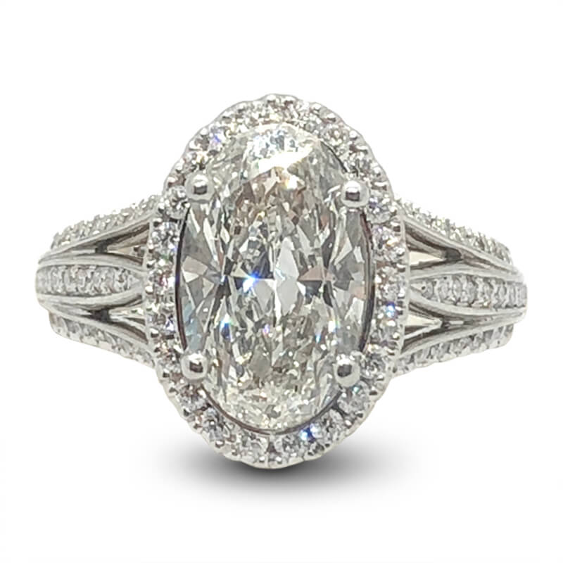 Oval Triple Split Diamond Shank Halo Ring