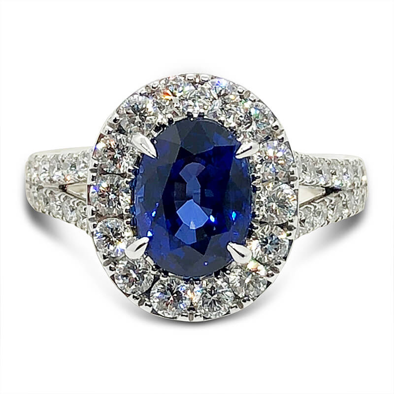 One of a Kind Sapphire & Diamond Halo Ring