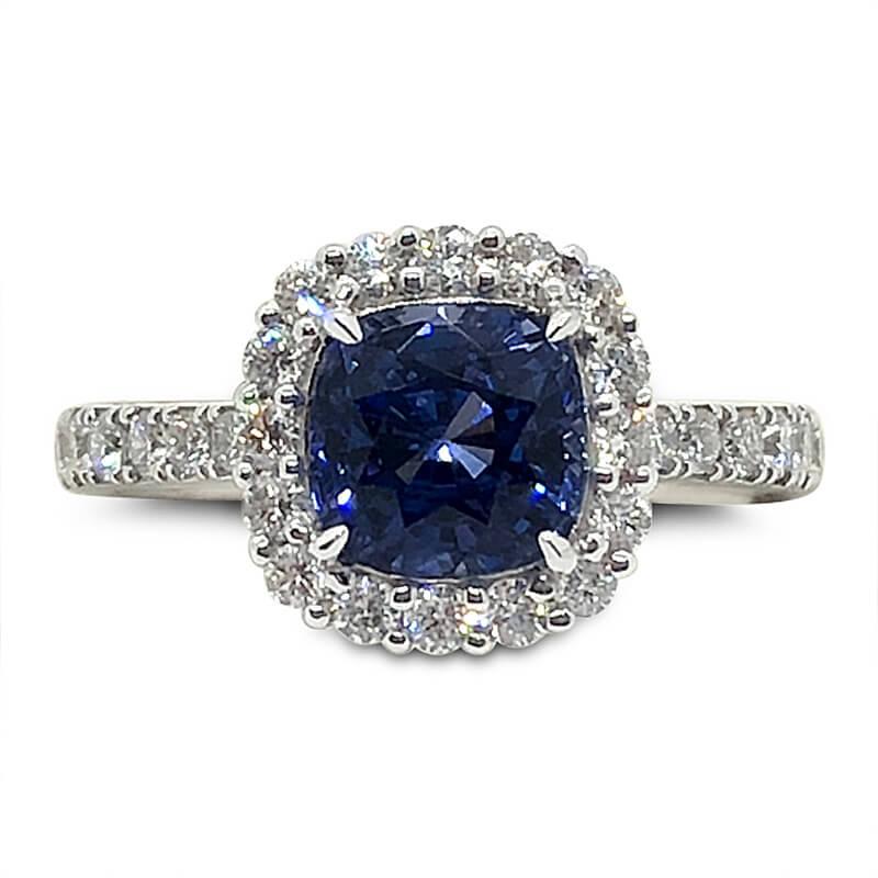 Cushion Sapphire & Diamond Halo Ring