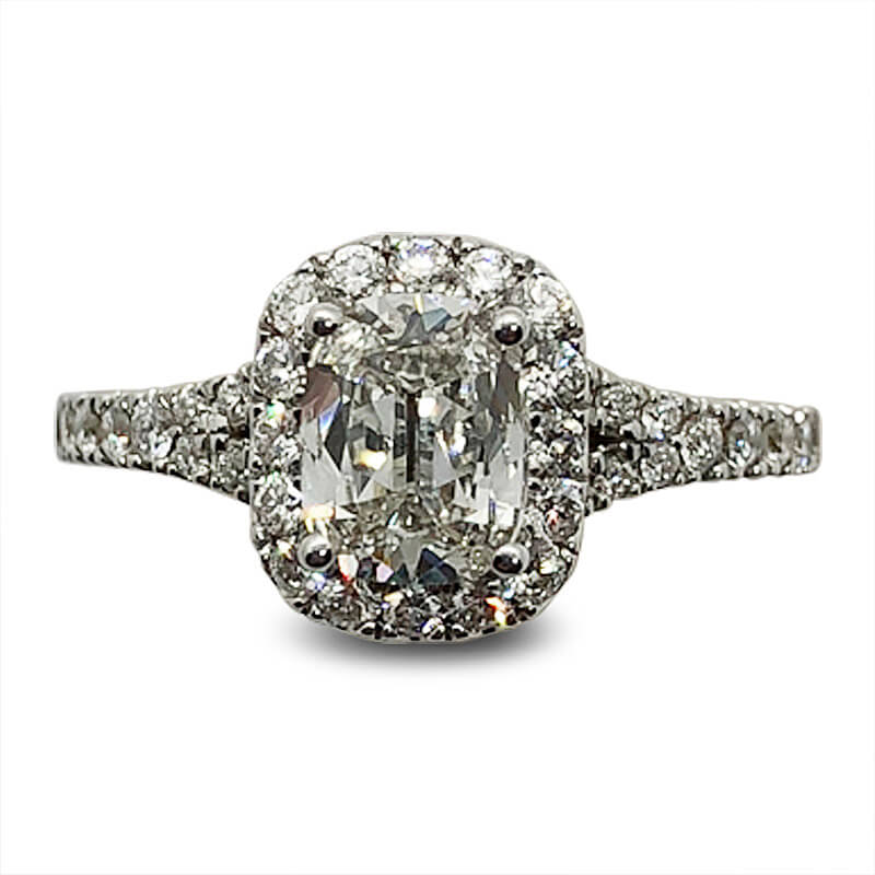 One Carat Cushion Cut Diamond Halo Ring