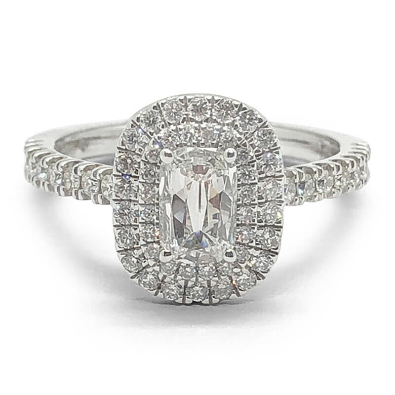 Double Cushion Halo Diamond Ring