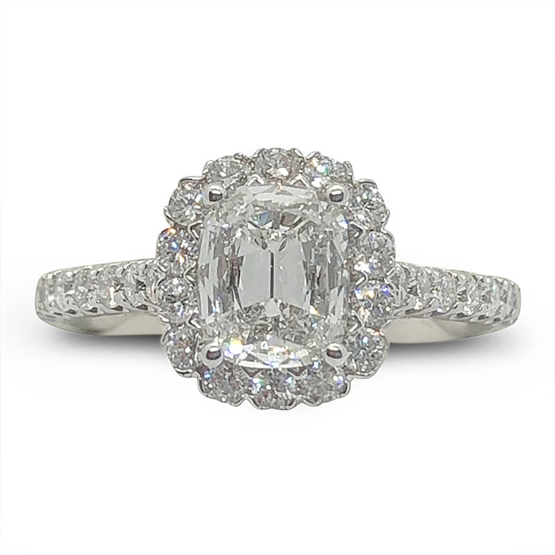 Cushion Halo Shared Prong Engagement Ring