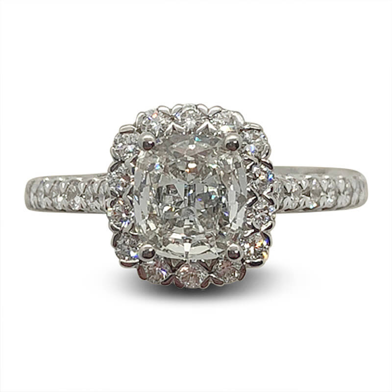 Cushion Shaped Diamond Halo Engagement Ring