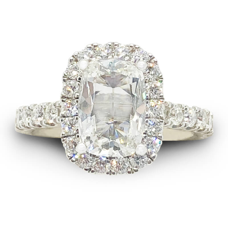 White Gold Cushion Cut Diamond Halo Ring
