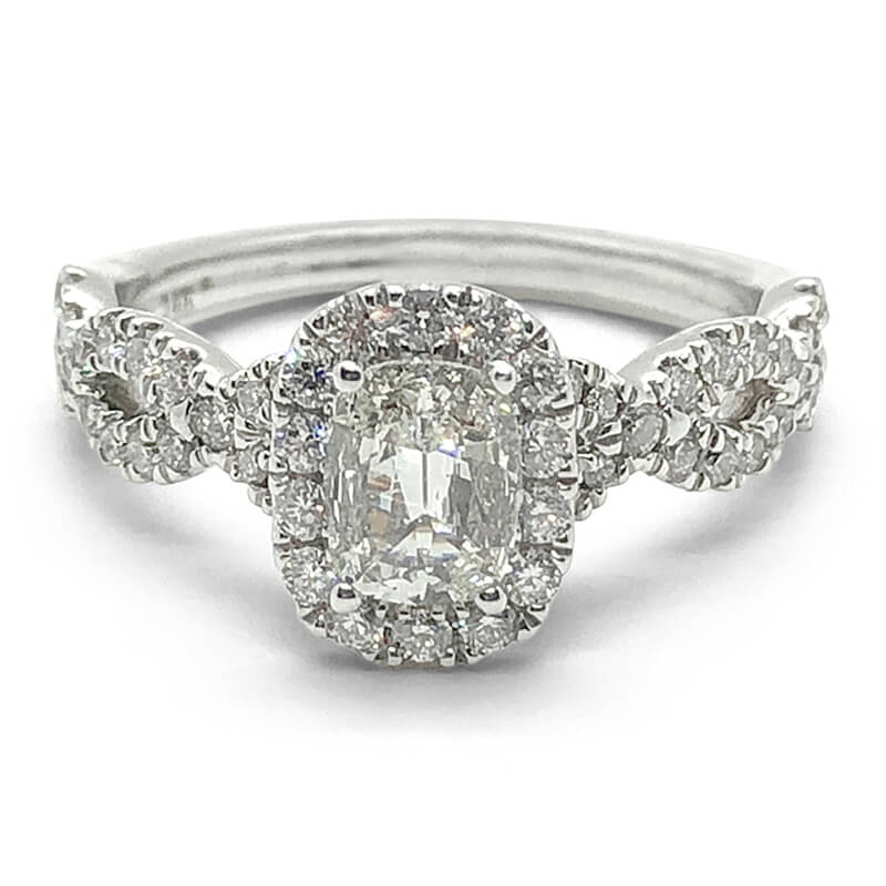 Cushion Cut Twist Diamond Ring
