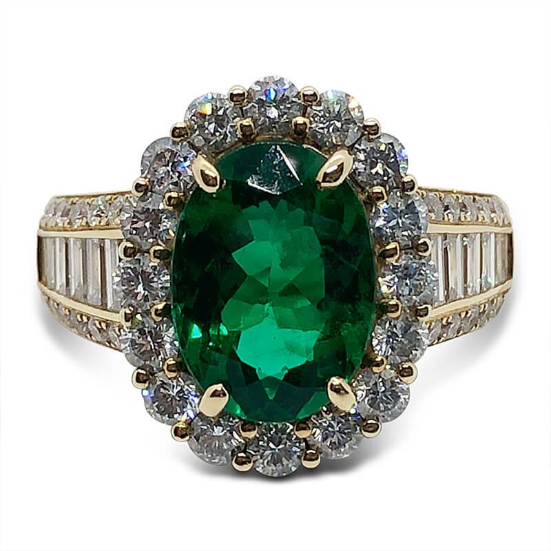 Brazilian Emerald Ring with Diamonds