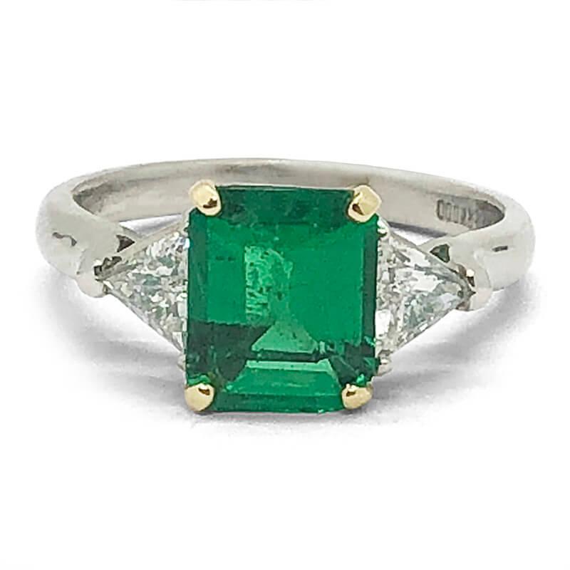 Emerald Cut Emerald & Diamond Ring
