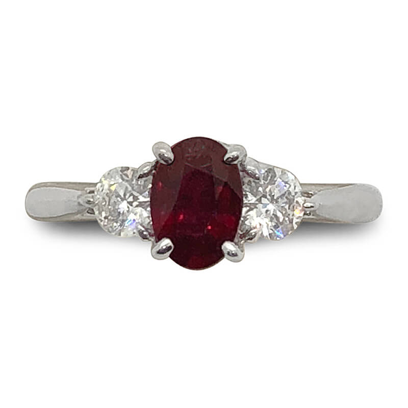 Fine Red Ruby & Diamond Ring