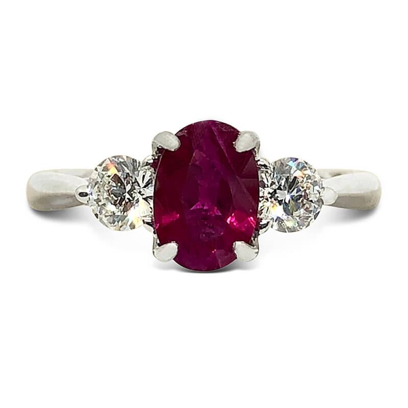 3 Stone Ruby & Diamond Ring