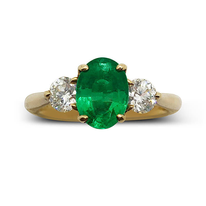 One of a Kind Three Stone Emerald Ring