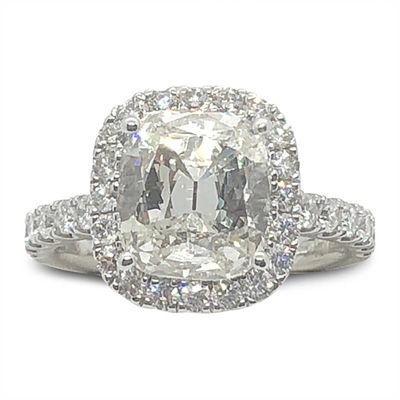 2.40t. Cushion Cut Diamond Halo Ring