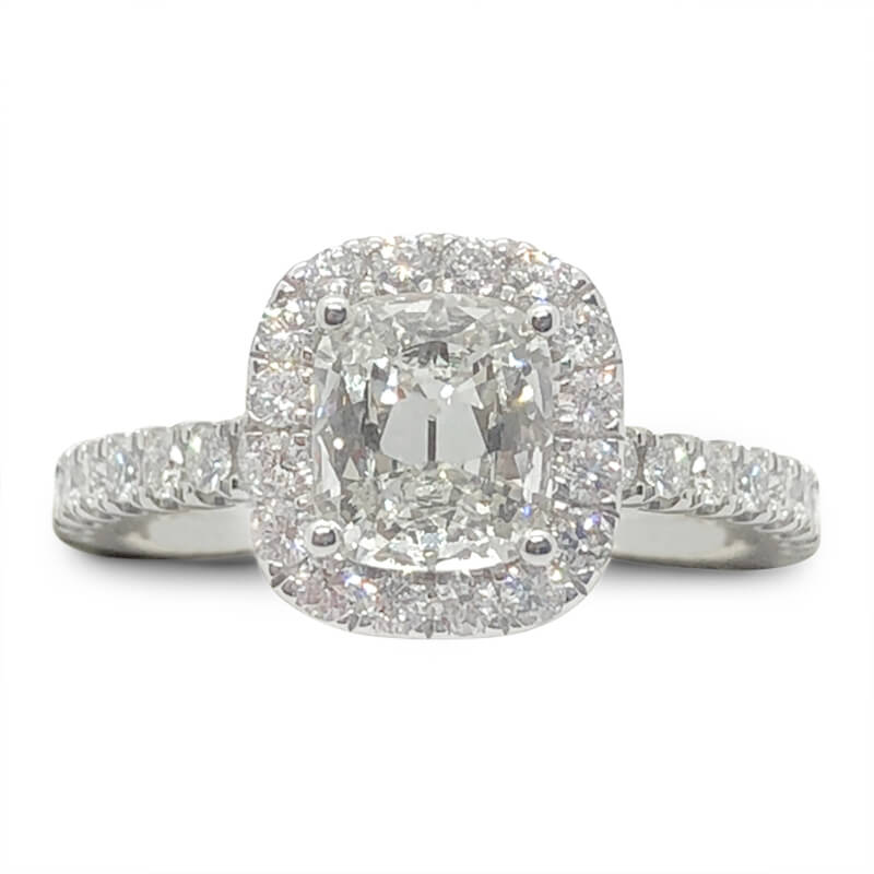 Square Shaped Halo Cushion Diamond Ring