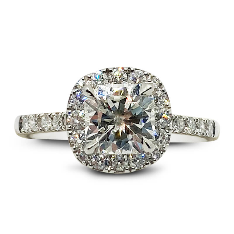 Platinum Elara Cut Diamond Halo Ring