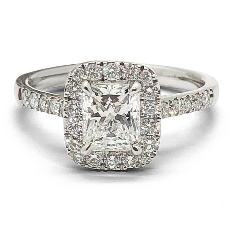 Platinum Radiant Cut Rectangular Halo Ring