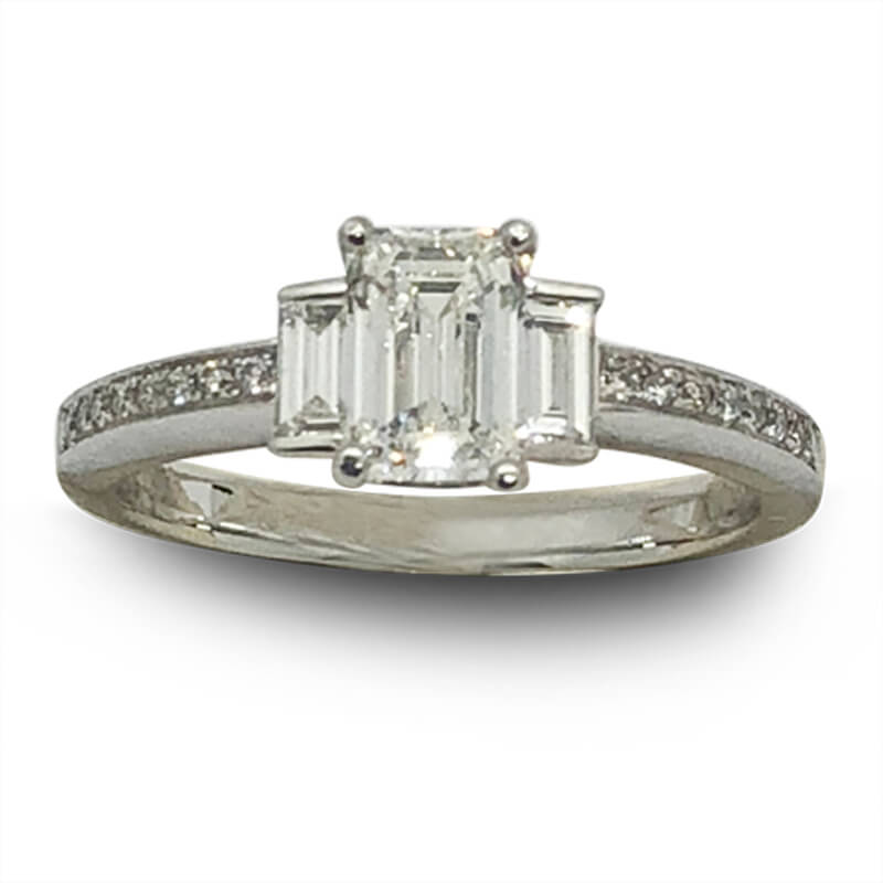 Platinum 3 Emerald Cut Diamond Ring