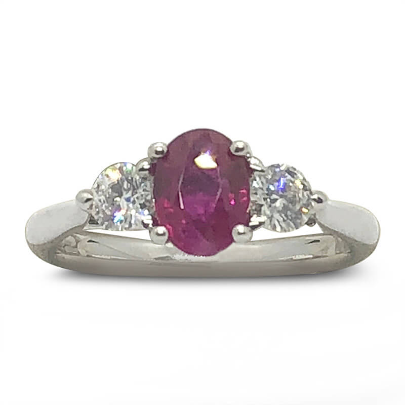 Diamond & Oval Ruby Ring