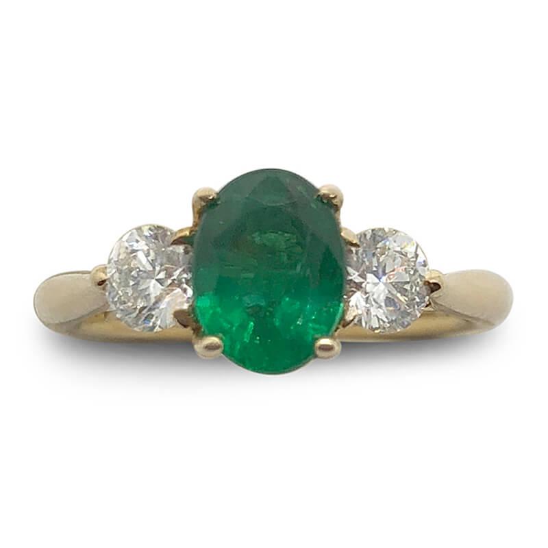Oval Cut Emerald & Diamond Ring