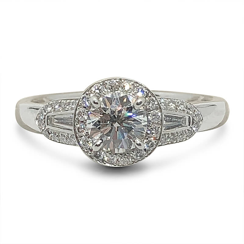 Round & Tapered Baguette Halo Ring