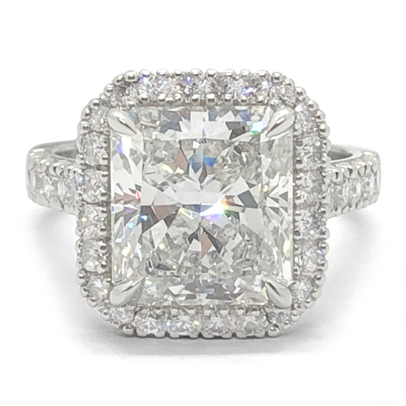 5.45ct. Radiant Cut Diamond Halo Ring