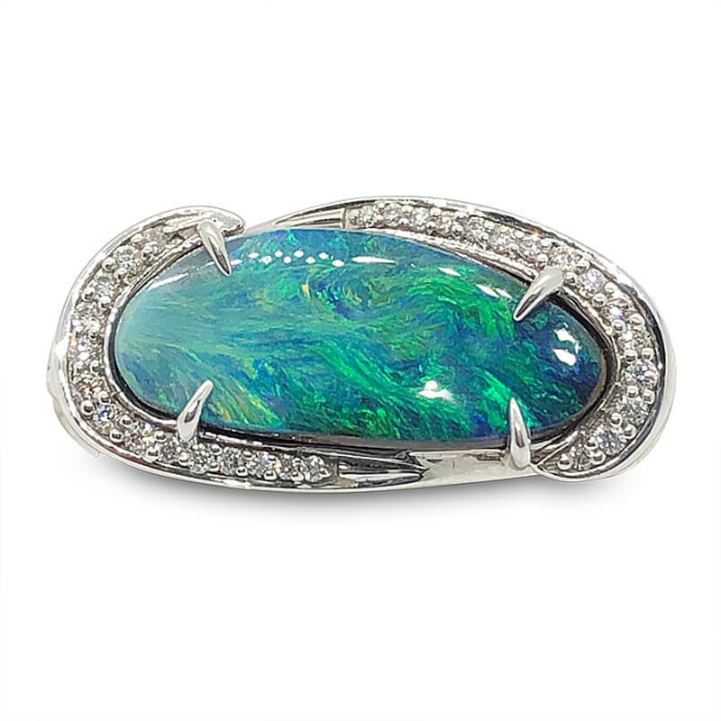 Freeform Black Opal Ring